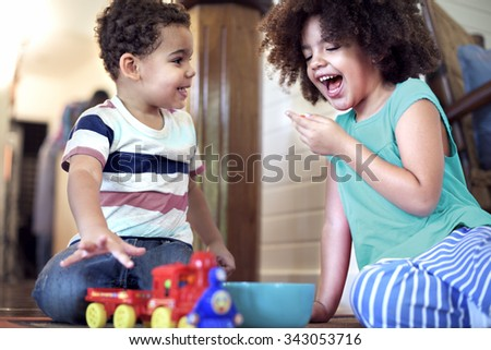 African Kids Play Togetherness Cheerful Concept - stock photo