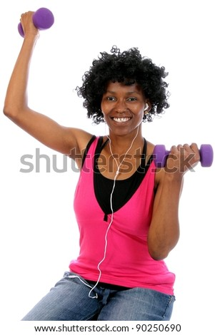 African Lady doing Gym Workout - stock photo