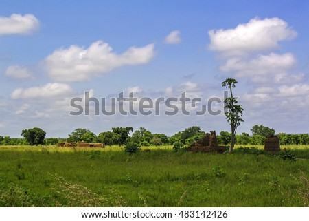 African landscape with village in Ghana near Wechiau