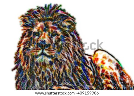 African lion illustration
