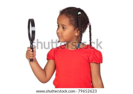 African little girl looking through magnifying-glass isolated on a over white - stock photo
