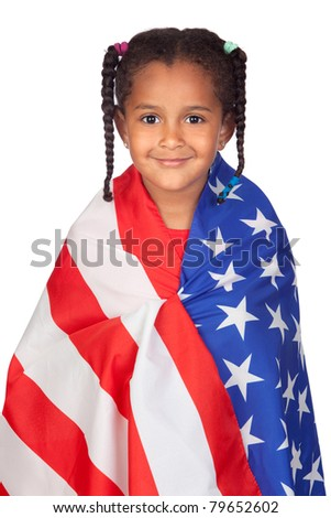 African little girl with a American flag isolated on a over white - stock photo