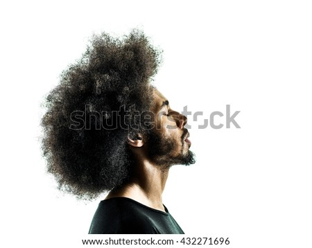 african man portrait silhouette isolated profile - stock photo