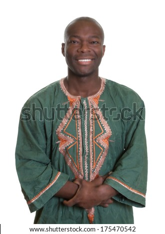 African man with traditional clothes and crossed arms   - stock photo