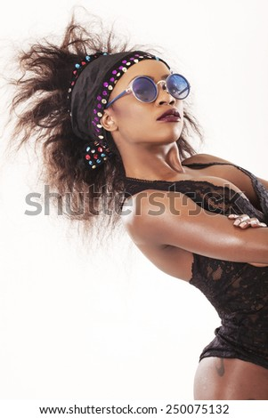 African model posing and looking at camera