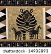 African motifs painted on textile, from the craft market Botswana, unfortunately this item is mass production for tourists. - stock photo