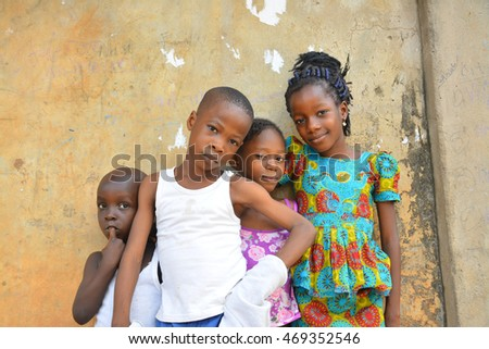 AFRICAN, NIGERIA - 15 AUGUST 2016: Young vibrant African children come out for a portrait session on 15 AUGUST 2016.