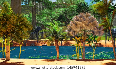 African savannah with lush and vibrant vegetation by the pool - stock photo