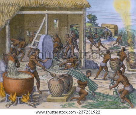 African slaves processing sugar cane on the Caribbean island of Hispaniola, 1595 engraving by Theodor de Bry with modern watercolor. - stock photo
