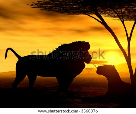 African Spirit - The Lions - stock photo