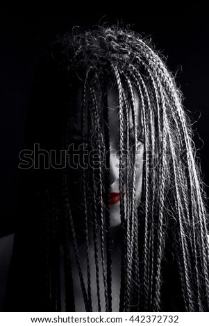 african style haircut - stock photo