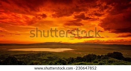 African sunset over the Ngorongoro Crater, Tanzania - stock photo