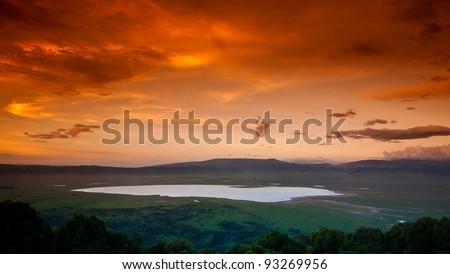 African sunset over the Ngorongoro Crater, Tanzania - stock photo