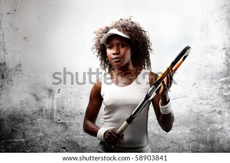 African tennis player - stock photo
