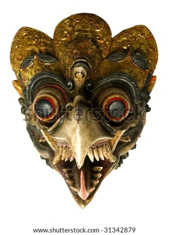 african tribal bird mask isolated on white - stock photo