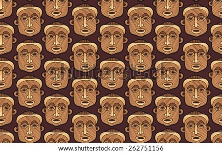 African tribal masks in a seamless pattern - stock photo