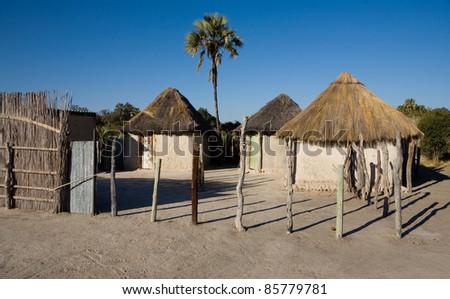 African village. Okavango delta, Botswana - stock photo