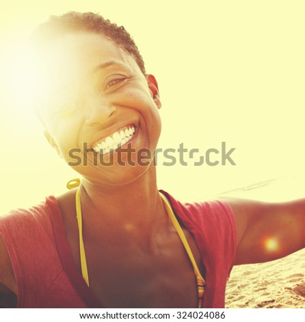 African Woman Beach Happiness Freedom Concept