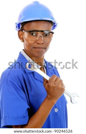 African Woman Construction Worker - stock photo