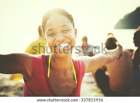 African Woman Happiness  Beach Summer Concept - stock photo