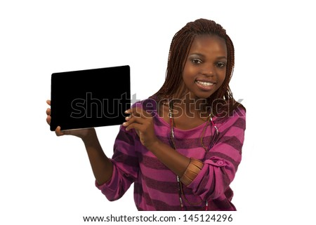 African Woman Holding a Blank black Sign against white background