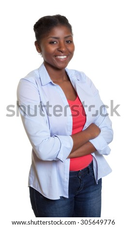African woman with casual clothes and crossed arms - stock photo