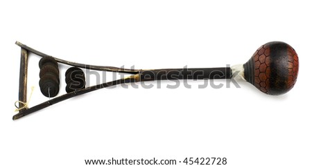 African wooden cuban maracas. Isolated over white background - stock photo