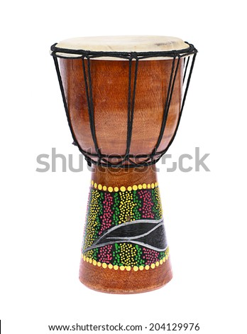 African Wooden Drum Isolated on a White Background - stock photo