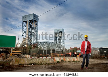 african worker in erection yard - stock photo