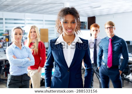 African young businesswoman multi ethnic teamwork group as leader in office - stock photo