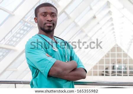 African young doctor portrait in a hospital - stock photo