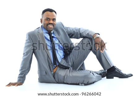 afro-american businessman relaxing - stock photo