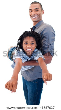 Afro-American father playing woth his son against white background - stock photo