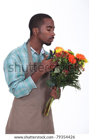 Afro-American flowers retailer - stock photo