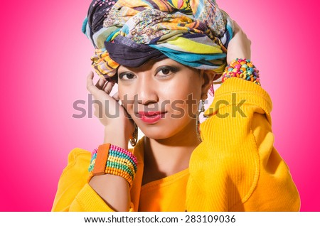 Afro-american woman isolated on white - stock photo