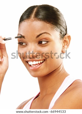 Afro american woman makeup on white background. - stock photo