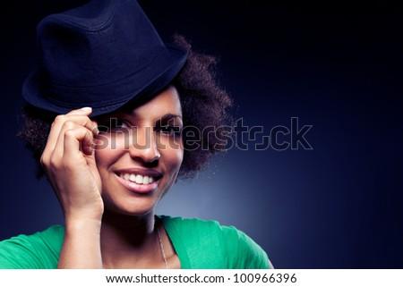 Afro American Woman Portrait - stock photo
