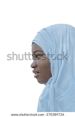 Afro child dressed for a religious celebration, isolated - stock photo