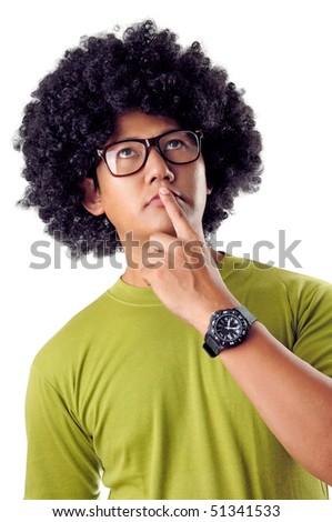 Afro male thinking - stock photo