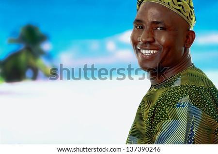 Afro man on a beach - stock photo