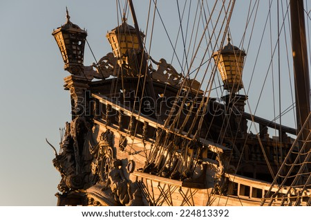 Aft of the sailboat by pirates in Genoa