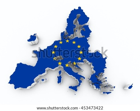 after brexit europe union flag on 3d map on white isolated