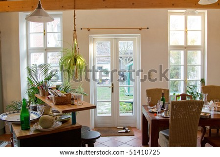 after lunch situation in the bright living room - stock photo