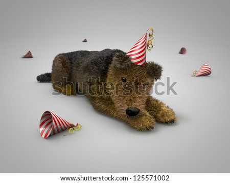 after party dog - stock photo