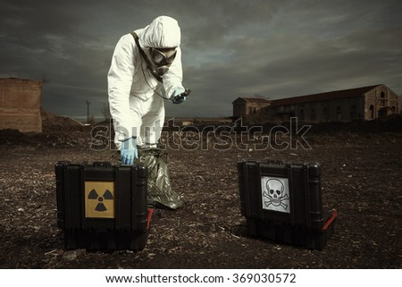 After radiation fallout - soldier checking environment
