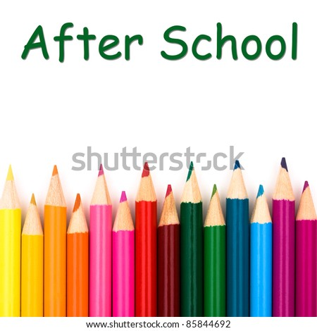 After school with pencil crayons border, a school background - stock photo