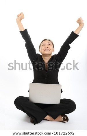 After successed his target with happiness and smile - stock photo