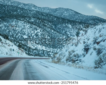 After sunset on New Mexico State Road 68 in December. - stock photo