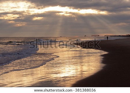 After the storm on Atlantic coast beach of Outer Banks,, OBX, North Carolina, NC, USA