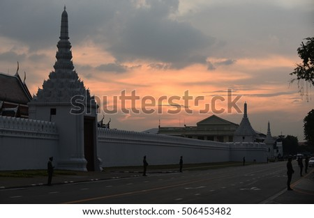 After the sun set outside the wall of the Grand Palace in Bangkok,Thailand.